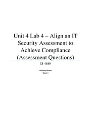 Unit 4 Lab 4 - Align an IT Security Assessment to Achieve Compliance (Assessment Questions)
