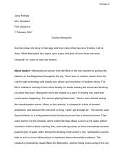 Compare/Contrast Essay: Sunrise and Metropolis - Jana Rollings