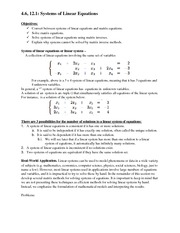 4.6, 12.1- Systems of Linear Equations