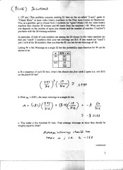 Solutions to Exam 2, Blue Version, Ma381, F05