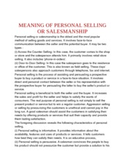 MEANING OF PERSONAL SELLING OR SALESMANSHIP