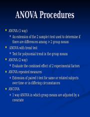 ANOVA Procedures
