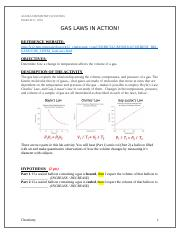 Gas Laws Lab Activity