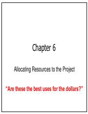 Chap06 Allocating Resources to the Project