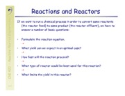 Reactor Processes Notes