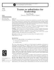 WEEK 8_Huusko (2007)_teams as substitutes for leadership.pdf