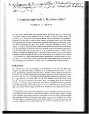 Norman Bowie, A Kantian Approach to Business Ethics article copy