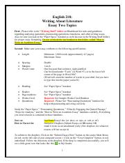 *Essay 2 (Short Stories Instructions and Handouts)* ~ Essay Two Topics