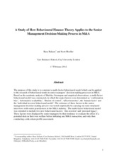 Case 01_A Study of How Behavioural Finance Theory Applies to the Senior Management