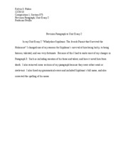 Revison Paragraph to Unit Essay 2