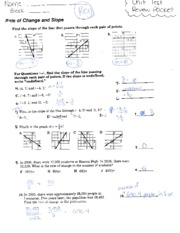 Linear Test Review Answer Key
