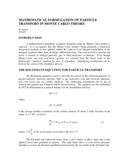 Mathematical Formulation of Particle Transport