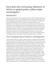 How does the increasing influence of NGOs in global politics affect state sovereignty