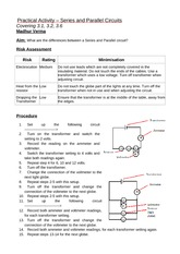 Practical Activity Series and Parallel Circuits