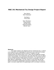 MAE 341 Mechanical Toy Design Project Report