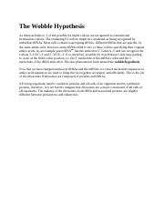 The Wobble Hypothesis