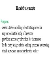 thesis statement controlling idea
