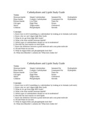 Carbohydrates and Lipids Study Guide