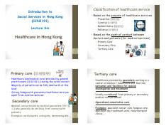 CCN2191 - L6 - Healthcare in Hong Kong [Compatibility Mode]