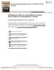 Mindfulness Self Care and Wellness in Social Work Effects of Contemplative Training