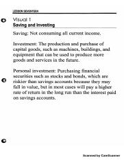Lesson 17 Visual 1 - Saving and Investing