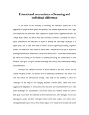 PSY 201:Educational neuroscience of learning and individual difference