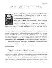 Commentaire Allen Ginsberg A Supermarket POINSOT