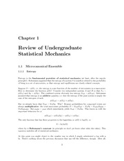 review of undergraduate statistical mechanics
