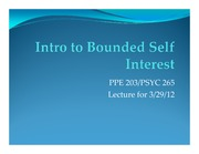 Intro to Bounded Self Interest