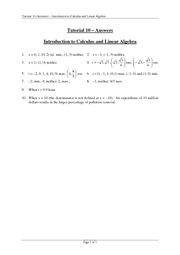 Tutorial 10 Answers