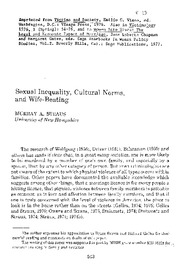 07 Sexual Inequality, Cultural Norms, and Wife Beating (1977)