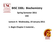 BISC 330 Spring 2011 Lecture 4