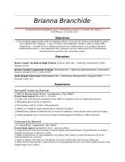 Brianna Branchide Resume