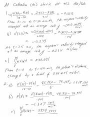 Calc Unit 2 HF 2 answers and solutions