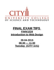 FINAL EXAM  Introduction To Web Design
