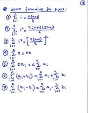 MAT 3143 Formula for Sums Notes