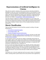 Artificial Intelligence in Cinema Notes