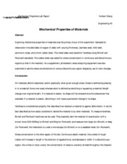 01E45 Mechanical Properties Lab Report