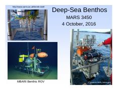 Lecture 15 4 Oct Deep-Sea 2