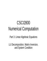 3.3 - LU Decomposition, Matris Inversion, and System Condition