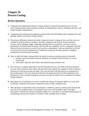 Chapter 18 Homework - Process Costing