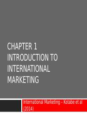 Week 01 Topic -Introduction to International Marketing