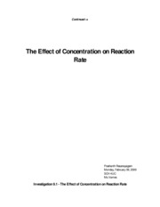 The Effect of Concentrtion on Reaction Rate