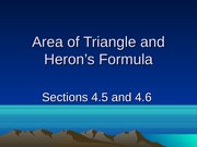 4.5 and 4.6 Area of Triangle and Heron's Formula