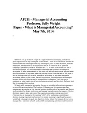what is mangerial accounting paper