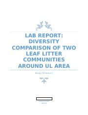 Diversity Comparison of Two Leaf Litter Communities around UL area.docx