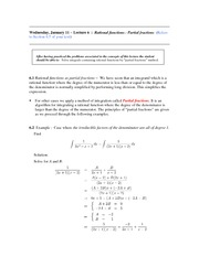 Lecture 6 (Partial Fractions)