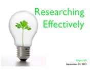 Lecture #3 - Researching Effectively