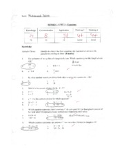 Equations Test