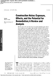 Reading - Construction Noise Exposure Effects Potential for Remediation